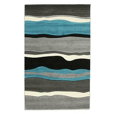 NEW Stunning Thick Wave Rug Blue Grey