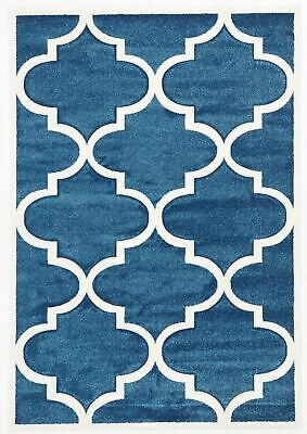 NEW Large Modern Trellis Rug Blue