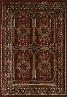 NEW Traditional Afghan Design Rug Burgundy Red