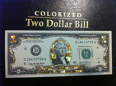 $2 Dollar Bill - Gold Hologram Colorized Legal Note- Gold Gift Money
