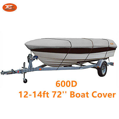 Premium 600D 12-14ft Marine Grade Trailerable Boat Cover Light Gray-JET-B121472