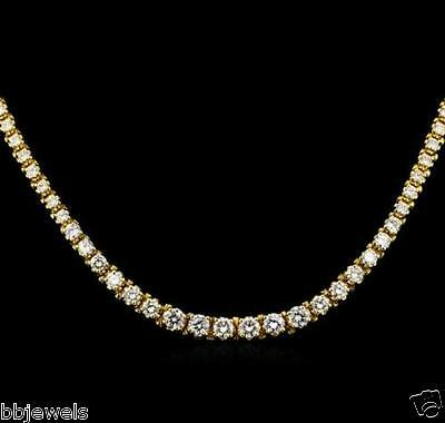 4.75ct Brilliant Round D/VSS1 Diamond 18K Gold Over Tennis Necklace 16""