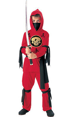 Red Ninja Karate Warrior Child Boys Fancy Dress Book Week Halloween Costume