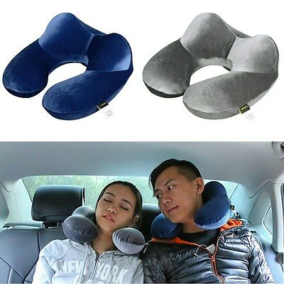 Goose Down Inflatable Travel Pillow Flight Car Neck Support Cushion Head Rest