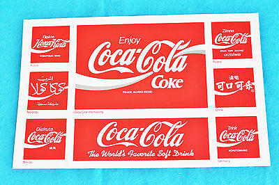 1 Sheet Coca-Cola Stickers - 8 Stickers - Different Languages