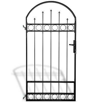 Fence Gate Back Yard Door with Arched Top Hinge Steel Garden Security Grilles