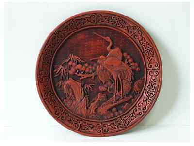 Chinese Old RED TICK 剔紅 / RED LACQER WARE / Φ 29 × H 3 [ cm ] 1000g