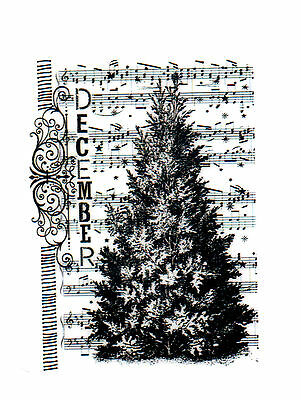 December Tree Deep Red Cling Rubber Stamp