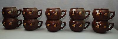 lot of 10 VTG McCoy MAN in MOON MUGS Smiling Face Brownware Pottery Free USA Shi