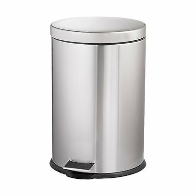Oates 20L PEDAL ROUND BIN Silver BRUSHED STAINLESS STEEL 48cm- Aust Brand