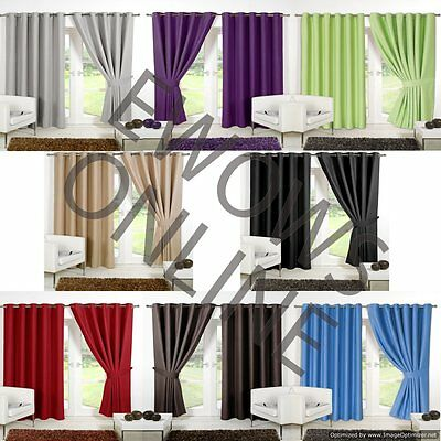 2 X Ring Topped Eyelet Ready Thermal Blackout Window Door Curtains Panels Pair