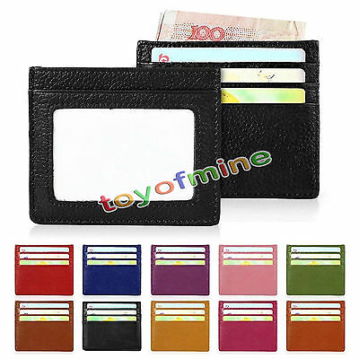 Real Leather RFID Blocking Slim Thin Credit ID Card Holder Case Wallet