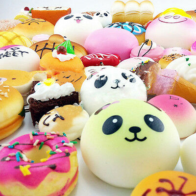10-30 Pcs Jumbo Medium Mini Squishy Cute Soft Panda/Bread/Cake/Buns Phone Straps