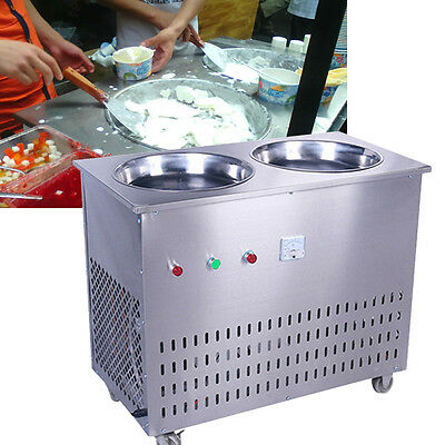 Double Pot Single Control Commercial Fried Ice Machine Can Make Fried Ice