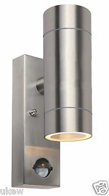 PIR Stainless Steel Double Outdoor Wall Light with With Movement Sensor IP44