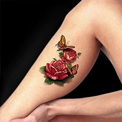 TAFLY Temporary Tattoo 3D Butterfly Red Peony Body Art Fake Stickers 5 Sheets
