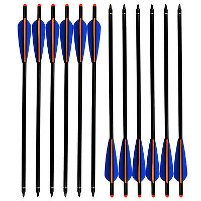 "6X 20"" Crossbow Bolts Archery Aluminum Arrows Hunting Changeable Point Tip 2216#"