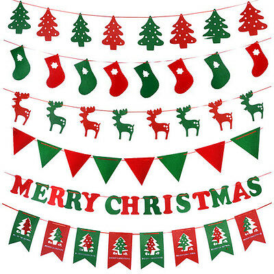 Christmas Hanging Flag  Banner Bunting Flags Hanging Decor Xmas Tree Reindeer