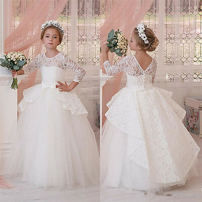 Girl Communion Party Prom Princess Pageant Bridesmaid Wedding Flower Girl Dress.