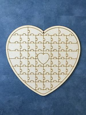 Large Jigsaw Heart Guest Wedding Book Wood Craft Vintage Laser Cut Shape Signing
