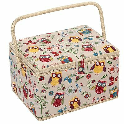 LARGE Sewing Box - Fabric Sewing Basket with Handle & Tray Owls on Cream Fabric