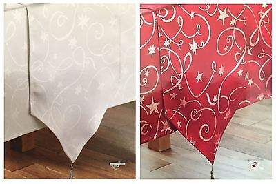 "Christmas Xmas Home Luxury Table Runner 13x72"" Swirl Pattern Red / Silver"
