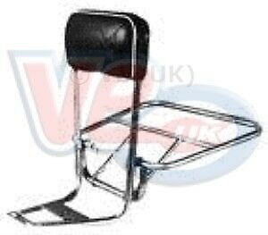 Vespa PX 125 150 200 Italian Chrome Backrest with Black Pad and Folding Carrier