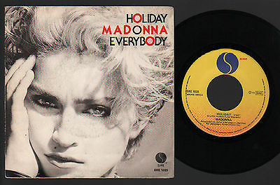 """7"""" Madonna Holiday / Everybody 1983 Made In Italy Sire Label Pop Rock Dance"""