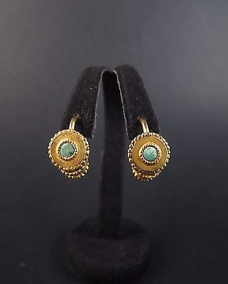 Beautiful ancient Greek Hellenistic gold & turquoise earrings