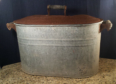 Old Vintage Galvanized Metal Boiler Rusted Primitive Farm Barn Tool Decor