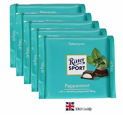 5x Genuine Ritter Sport PEPPERMINT CHOCOLATE 100g Mint Filled Bars Pack of 5 Box