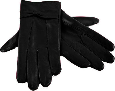 Ladies Womens Genuine Soft Winter Driving Leather Gloves with Fleece lining