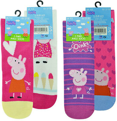 (4 Pairs) Girls Peppa Pig Ankle Novelty Socks