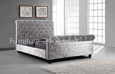 Silver Crushed Velvet Sleigh Upholstered Bed Frame With Diamond Buttons