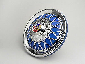 Vespa 50 90 100 Primavera PK Chrome Spoke Wheel Trim - 10 Inch - Blue