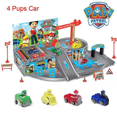 HOT Paw Patrol Car Park Marshall Rubble Chase Rocky Dog Figures Pups Kids Toys