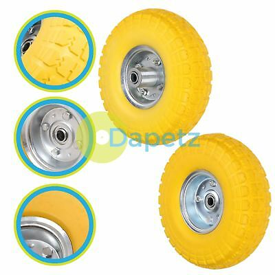 """10"""" Puncture Burst Proof Wheel Yellow Tyre Sack Truck Trolley 2Pc"""