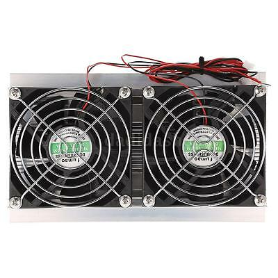Thermoelectric Peltier Refrigeration Cooling System Kit Radiator Double Fan J5K1