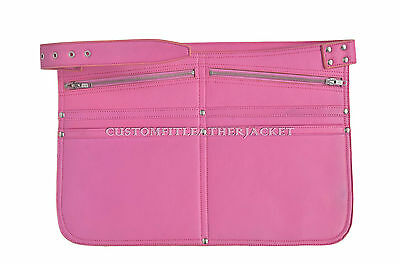 New Real Leather Market Traders Pink Money Cash Waist Strap Belt Zip Bag
