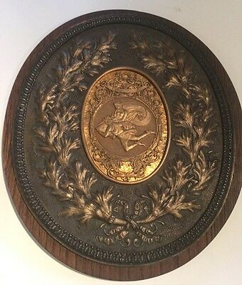 Antique French Bronze Medallion On Wood Wall Plaque
