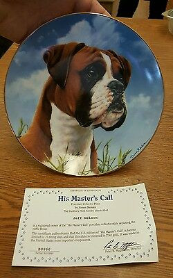 His Masters Call Boxer Dog Danbury Mint Collector Plate