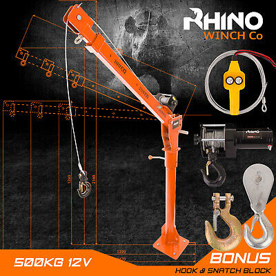 Electric Hoist Crane - 12v 3000lb Heavy Duty Rhino Winch, Vehicle Mounted Crane