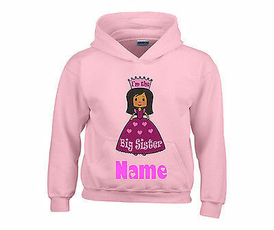 Personalised Big Sister Princess Hooded Top Hoody Any Name Ideal Gift For Girls