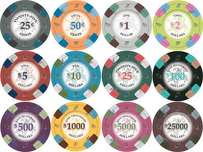 NEW 1000 PC Poker Knights 13.5 Gram Clay Poker Chips Bulk Lot Mix or Match Chips