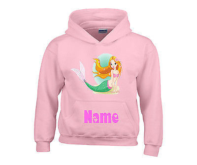 Personalised Little Mermaid Hooded Top Hoody Any Name Ideal Gift For Girls