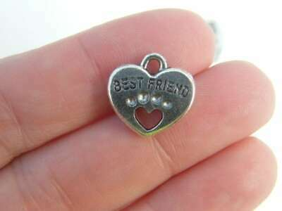 BULK 30 Heart connector charms antique silver tone H29