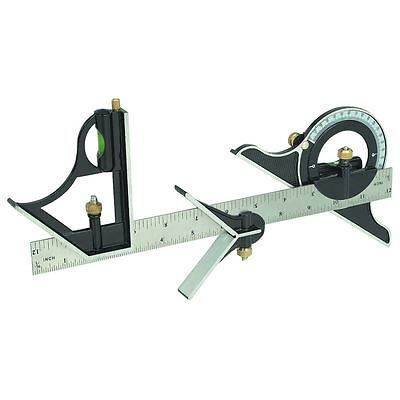 "12"" Combination Square With Angle Finder And Protractor Level Engineers Builders"