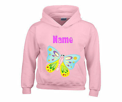Personalised Colourful Butterfly Hooded Top Hoody Any Name Ideal Gift For Girls