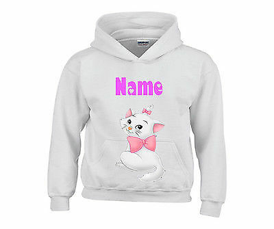 Personalised Cute Cat Kitten Hooded Top Hoody Any Name Ideal Gift For Girls