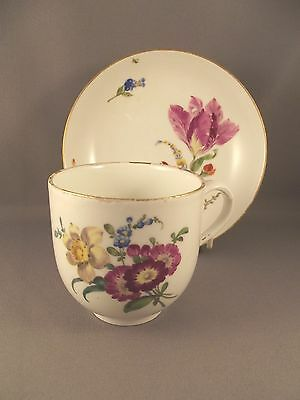 19th.c Meissen Cup & Saucer hand painted floral design